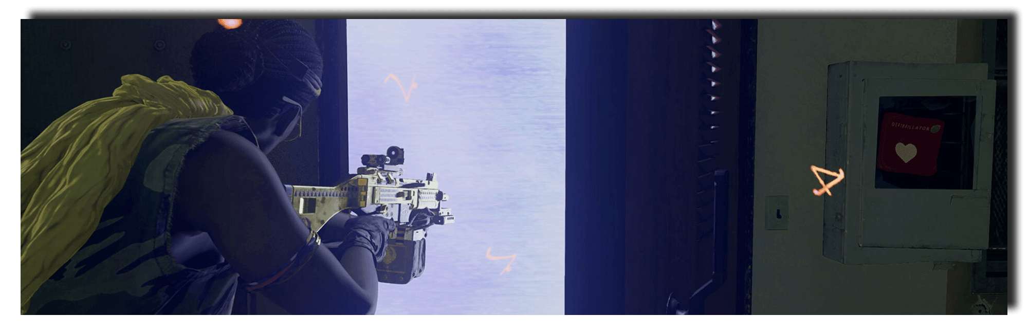 Banner image of an Operator staring into an open Red Room door.